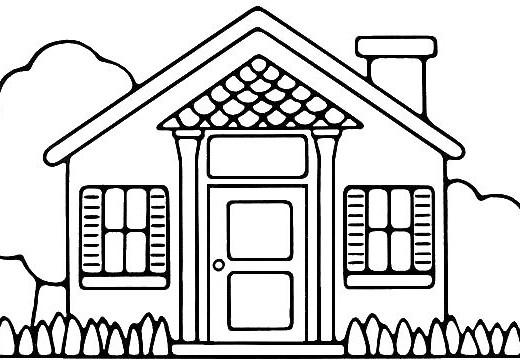 Como dibujar y colorear una casa dibujos para nios - Porche para colorear ...